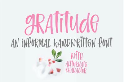 Gratitude - An informal handwritten font