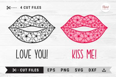 Flower lips SVG, Love SVG, Kiss me SVG, Valentine Cut Files