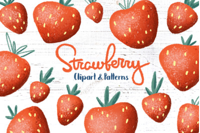 Strawberry Clipart And Seamless Patterns