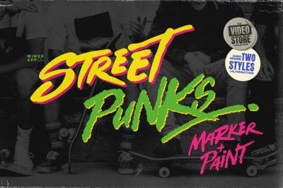 Street Punks: Graffiti Inspired Marker Pen and Paint Brush Font