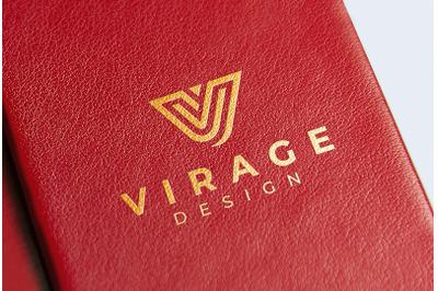 Logo mockup - Gold Foil Stamping on leather