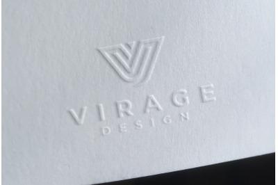 Logo Mockup - Embossed logo on white paper