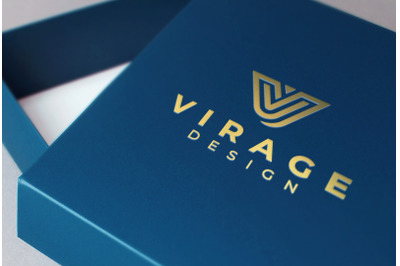 Logo mockup - Gold Foil Stamping on Blue Jewellery Box