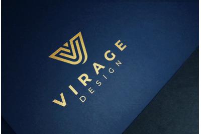 Logo mockup - Gold Foil Stamping on Blue paper