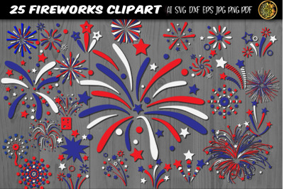 Independence Day Firework SVG 25 Clipart Set