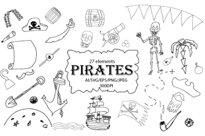 Pirates Set. AI/SVG/EPS/PNG/JPEG/300DPI