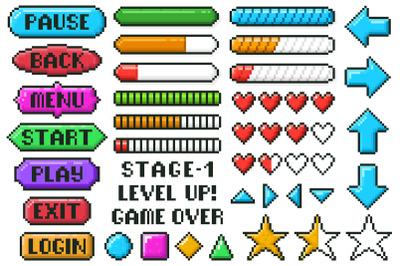 Pixel game menu buttons. Game 8 bit ui controller arrows, level and li