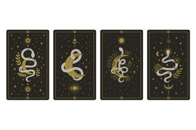 Magical snakes tarot cards. Occult hand drawn tarot cards, esoteric sp