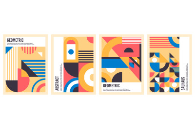 Bauhaus posters. Abstract geometric patterns, circles, triangles and s