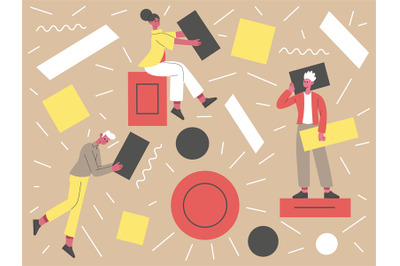 People with abstract geometric shapes. Teamwork concept, business char