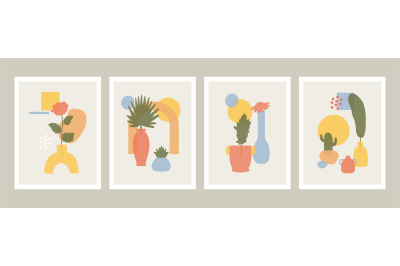 Abstract vases posters. Abstract minimalist vases, flowers and leaves