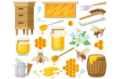 Cartoon honey. Beekeeping elements, honeycombs, beehive, bees and hone