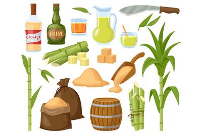 Cartoon sugar cane. Sugarcane leaf plants, sugar cubes, granulated sug