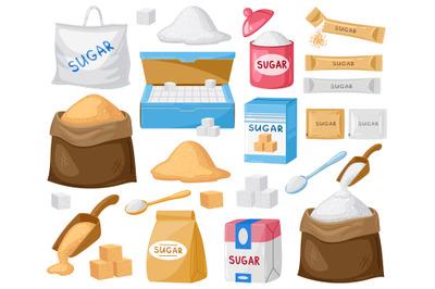 Cartoon sugar. Cube sugar, granulated and crystalline sugar, sugar in