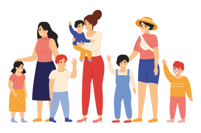 Mothers and kids. Female friends with children, smiling and waving han