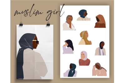 Muslim woman, abstract girl, black woman, boho illustration, business lady, african american, colorful svg, hijab clipart, diverse vector, fashion drawings, portrait, design kit, print set