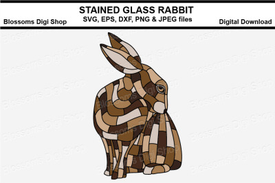 Stained Glass Rabbit SVG, EPS, DXF PNG and JPEG cut files