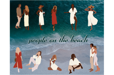 marine set, people on the beach, abstract girls, couples in love
