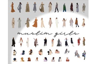 large set, muslim women, black women, abstract girls, hijab clipart