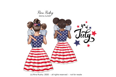 4th July mom clipart,family clipart,Independence Day clipart,patriotic