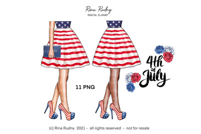 4th July fashion clipart,USA flag , Independence Day clipart