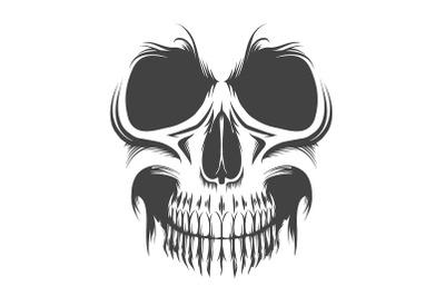 Tattoo of Human Skull isolated on white. Vector illustration.