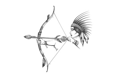 Woman in Indian Hair Dress with Bow and Arrow