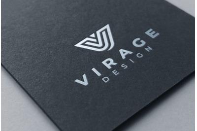 Logo mockup - Silver Foil Stamping on black card paper