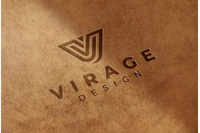 Logo Mock up - Stamped Engraved logo on leather