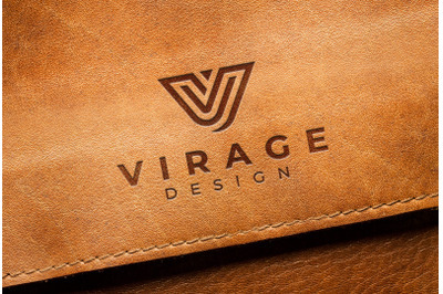 Logo Mock up - Stamped Engraved logo on old leather
