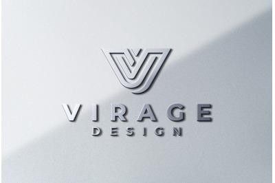 Logo Mock up - 3D metallic chrome Logo Signage on white wall