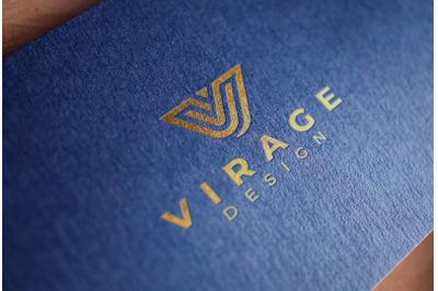 Logo Mock up - Debossed Gold foil stamping Logo on Blue Textured Card