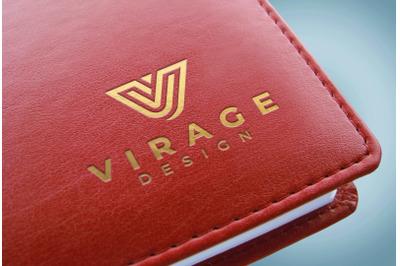 Logo Mock up - Debossed Golden Logo on Red Book Cover