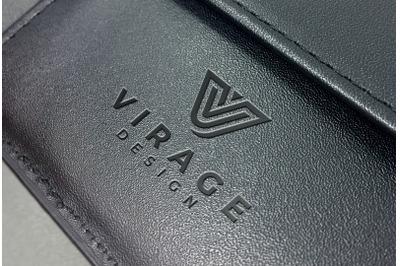 Logo Mock up - Debossed Logo on black Leather Case