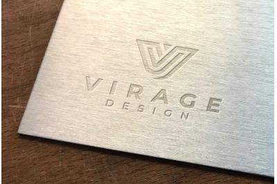 Logo Mock up - Debossed Logo On Metallic Surface
