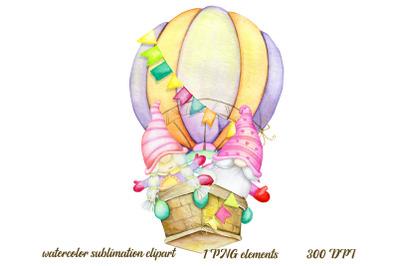 watercolour gnomes. air balloon, clipart. Summer, gnome clipart. A cou
