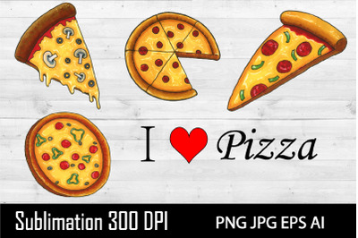 Pizza clipart. Sublimation Pizza. Hand draw illustration