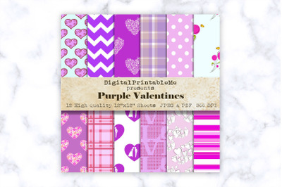 "Purple Mixed Pattern Digital Paper, Love romance, 12"" x 12"" Scrapbook"