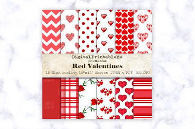 "Red Mixed Pattern Digital Paper, Love romance, 12"" x 12"" Scrapbook Pac"
