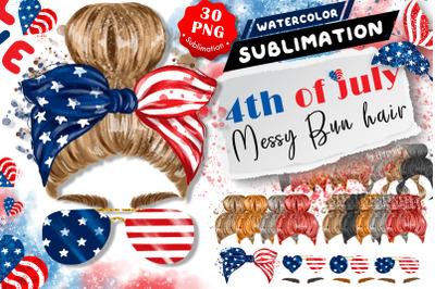 4th of July Messy Bun Hair clip art