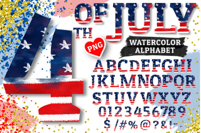 4th of July Alphabet Sublimation PNG