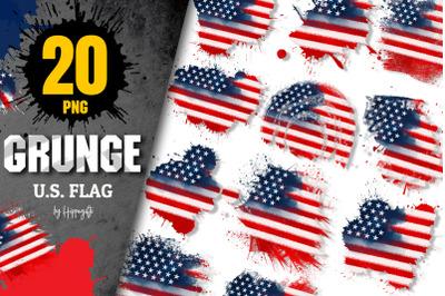 4th of July US Flag grunge brush clip art