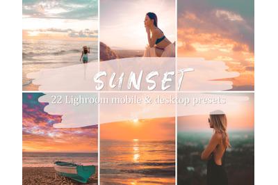 22 Sunset Lightroom Presets, Mobile & Desktop Lightroom Presets