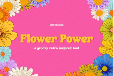 Flower Power Font (Retro Fonts, Groovy Fonts, Vintage Fonts)