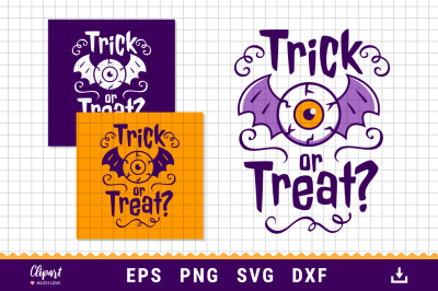 Trick or treat SVG, Halloween SVG, DXF, PNG