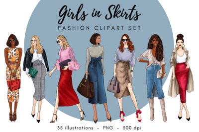 Girls in Skirts Fashion Clipart Set