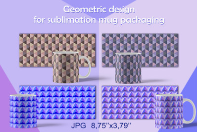 Geometric design for sublimation mug packaging.