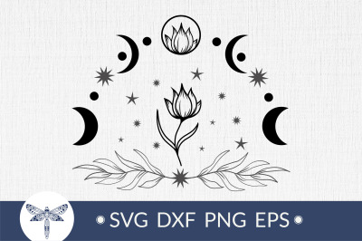 Moon phases with flower svg, bohemian crescent moon svg