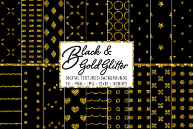 Black and Gold Glitter Patterns