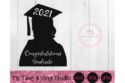 2021 Congratulations Graduate SVG, Congrats Grad, Girl Graduate, Girl